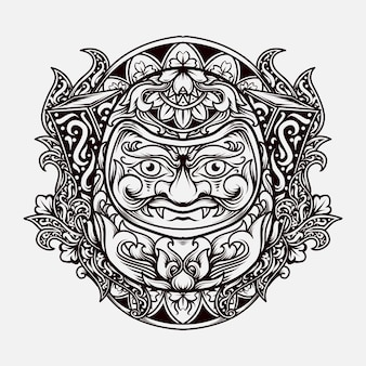 Projekt tatuażu i koszulki czarno-biały ręcznie rysowane ilustracja ornament grawerowania daruma