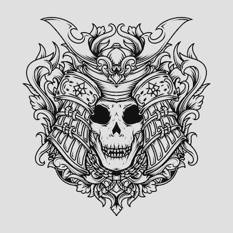 Projekt tatuażu i koszulki czarno-biały ręcznie rysowane ilustracja samurajski czaszka grawerowany ornament