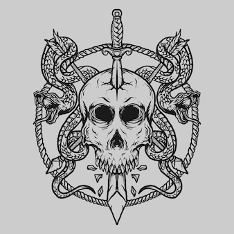 Projekt tatuażu i koszulki czarno-biały ręcznie rysowane miecz z czaszką i wąż