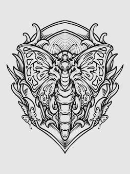 Projekt tatuażu i koszulki czarno-biały ręcznie rysowane motyl słoń grawerowanie ornament