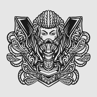 Projekt tatuażu i koszulki czarno-biały ręcznie rysowane ornament do grawerowania cyborga