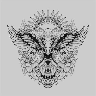 Projekt tatuażu i koszulki czarno-biały ręcznie rysowane ornament do grawerowania ptaków i róży