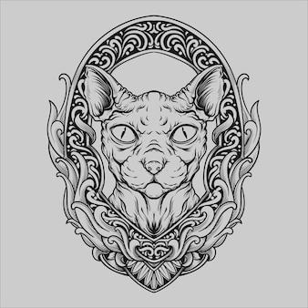 Projekt tatuażu i koszulki czarno-biały ręcznie rysowane ornament grawerujący kota sfinksa
