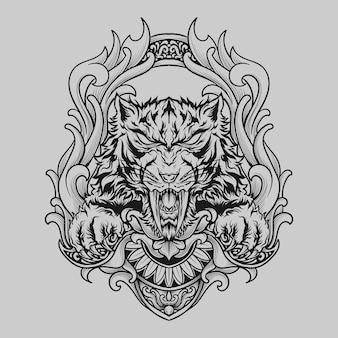 Projekt tatuażu i koszulki czarno-biały ręcznie rysowane ornament grawerujący tygrys