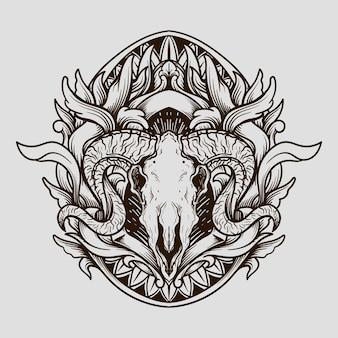 Projekt tatuażu i koszulki czarno-biały ręcznie rysowane ornament z grawerowaniem czaszki kozy