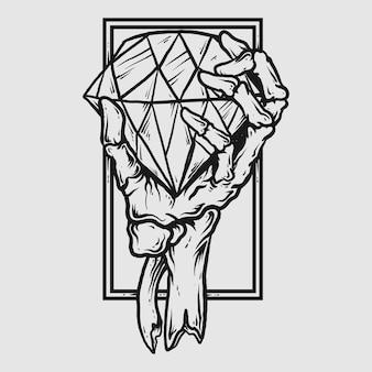 Projekt tatuażu i koszulki czarno-biały ręcznie rysowane szkielet ręka z diamentem