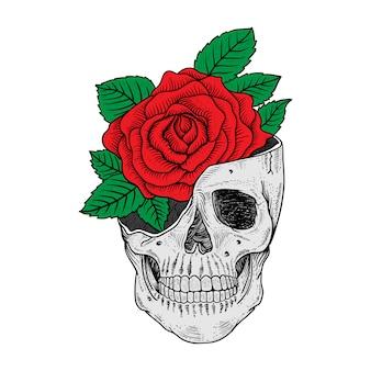 Projekt tatuażu i koszulki czaszka i róża