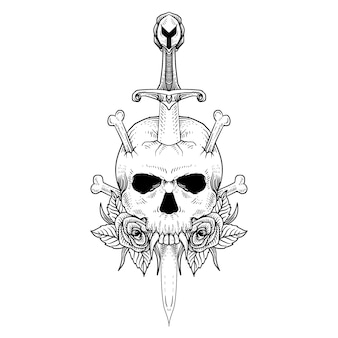 Projekt tatuażu i koszulki czaszki i miecza