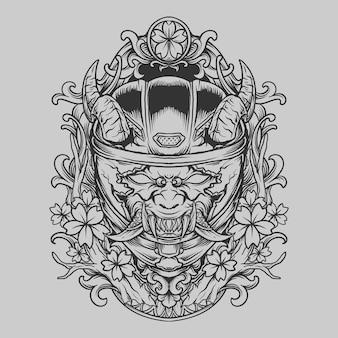 Projekt tatuażu i koszulki ręcznie rysowane ilustracja diabeł z hełmem pełna maska grawerująca ornament