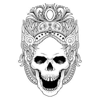 Projekt tatuażu i t shirt line art czaszka kultura tańca bali premium wektorów