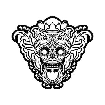 Projekt tatuażu i t-shirtu czarno-biała ręcznie rysowana maska oni w ramce grawerującej ornament wektor premium