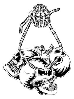 Projekt tatuażu i tshirt premium czaszki i liny