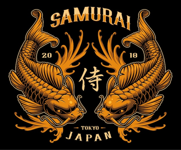 Projekt tatuażu karp koi. ilustracja z japońskimi rybami i falami. wszystkie elementy, kolory, tekst są na osobnej warstwie.