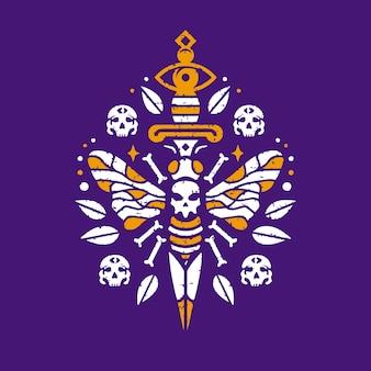 Projekt tatuażu z nożem martwej pszczoły