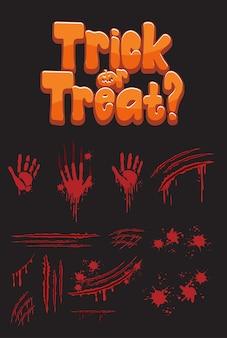 """Projekt tekstu """"cukierek albo psikus"""" z krwawymi odciskami dłoni"""