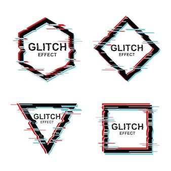 Projekt tekstu ramki wektorowej z efektem glitch