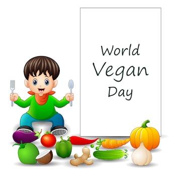 Projekt tekstu światowego dnia wegańskiego z chłopcem i warzywami