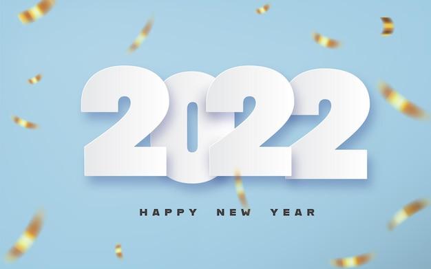 Projekt tekstu szczęśliwego nowego roku 2022 w stylu cięcia papieru.