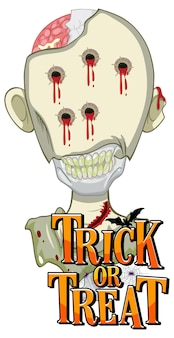 """Projekt tekstu """"trick or treat"""" z przerażającym zombie"""