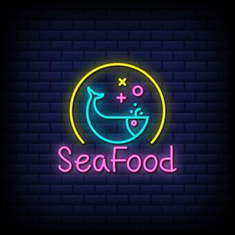 Projekt tekstu w stylu neonów z owocami morza