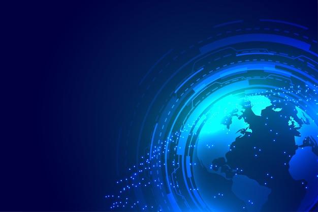 Projekt tła cyfrowego technologii globalnej ziemi niebieski