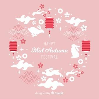 Projekt tła dla połowy jesieni festiwalu