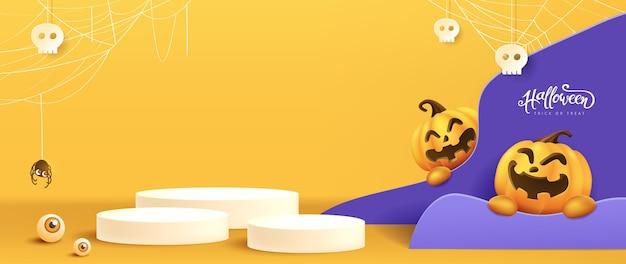 Projekt tła halloween z cylindrycznym kształtem wyświetlacza produktu i świątecznymi elementami halloween.