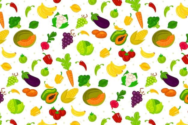 Projekt tła owoców i warzyw