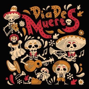 Projekt tła płaskiej kreskówki dia de muertos