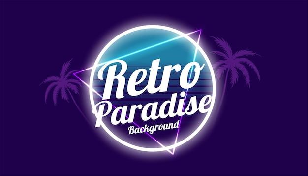 Projekt tła w stylu retro raj lat 80-tych