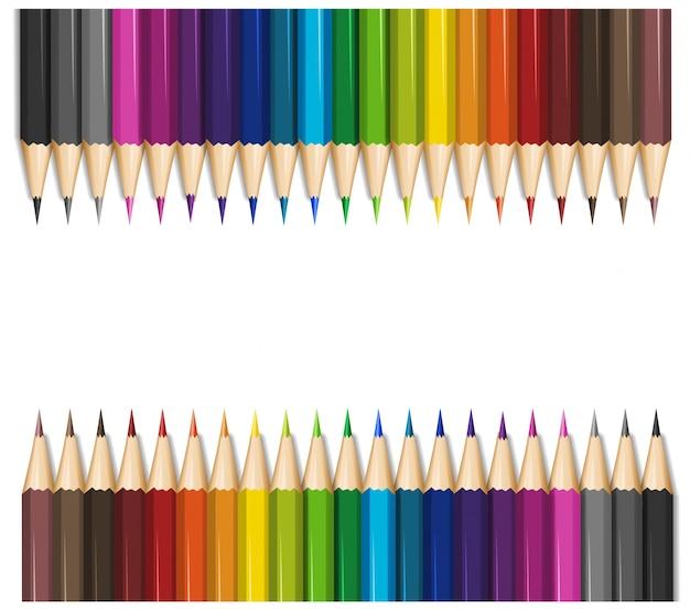 Projekt tła z kolorowymi kredkami