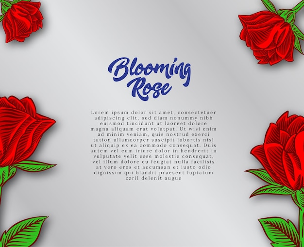 Projekt tła z kwitnącą różą ilustracją