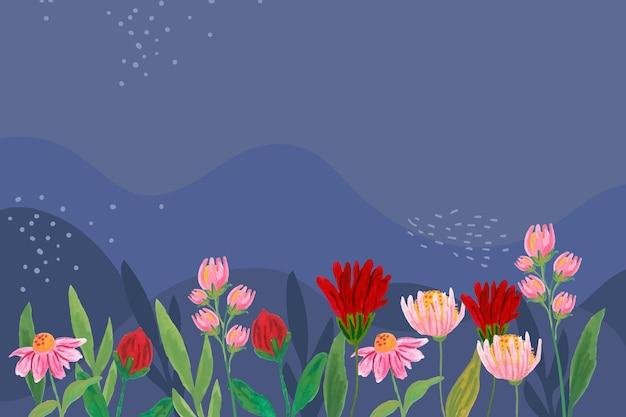 Projekt tła z liści i kwiatów