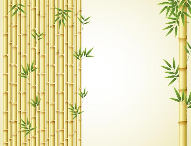 Projekt tła z złotego bambusa i zielonych liści