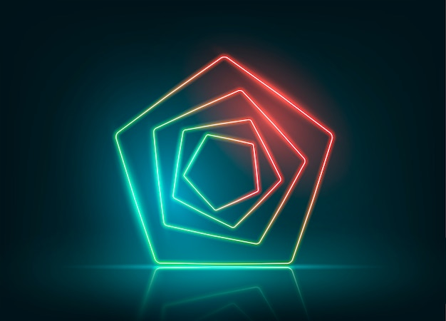 Projekt tło światła neonowe. neonowa pięciokątna figura.