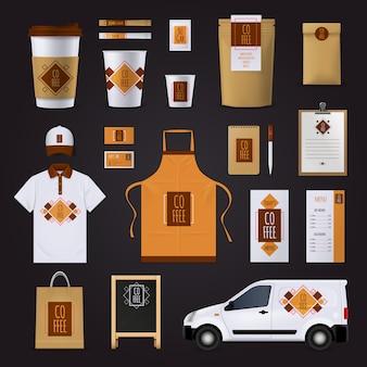 Projekt tożsamości korporacyjnej kawy zestaw do kawiarni z ornamentem płaski na białym tle ilustracji wektorowych