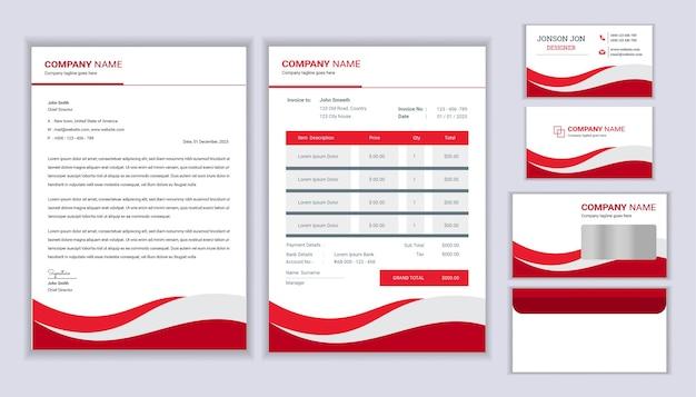 Projekt tożsamości korporacyjnej nowoczesnej papeterii z szablonem faktury firmowej i wizytówką szablon papeterii