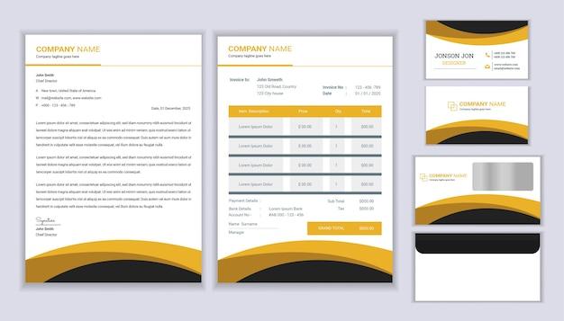 Projekt tożsamości korporacyjnej nowoczesnej papeterii z szablonem papieru firmowego, fakturą i wizytówką.