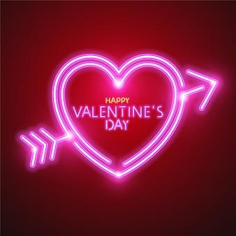 Projekt transparent neon serca i strzałki