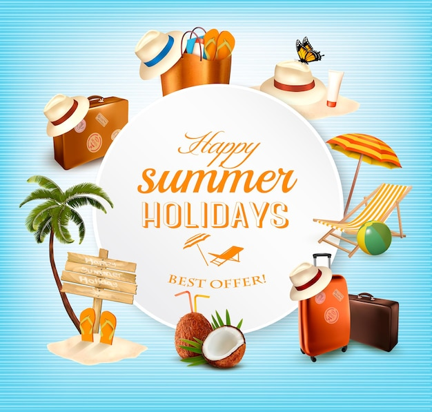 Projekt transparent wektor lato z ikony związane z wakacjami. wektor.