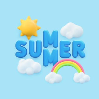 Projekt transparentu 3d lato. realistyczna scena renderowania tropikalne niebo, słońce, tęcza, chmura. tropikalne obiekty letnie, wakacyjny plakat internetowy, nowoczesna ulotka, broszura sezonowa, okładka, tło