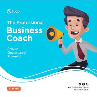 Projekt transparentu biznesmen trzyma w ręku megafon