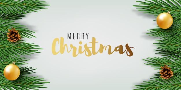 Projekt transparentu bożonarodzeniowego z zielonymi realistycznymi gałęziami sosny.