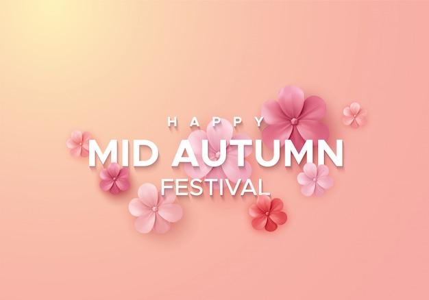 Projekt transparentu chińskiego festiwalu w połowie jesieni. ilustracja kwiatów w stylu cięcia papieru. streszczenie azjatyckie tło wakacje