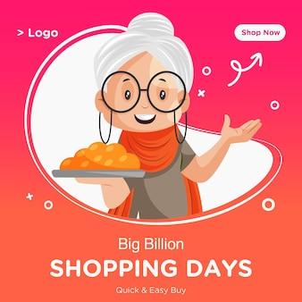 Projekt transparentu dni wielkiej wyprzedaży ze starszą panią trzymającą słodki talerz w dłoni