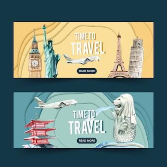 Projekt transparentu dnia turystyki z charakterystycznymi miejscami w europie i azji, posągi