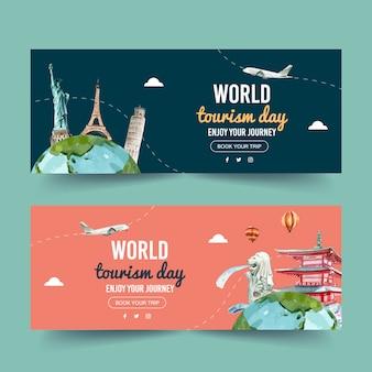 Projekt transparentu dnia turystyki z statuą wolności, wieża eiffla