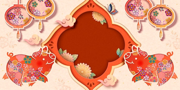 Projekt transparentu festiwalu wiosennego z uroczą kwiecistą świnką i lampionami, skopiuj miejsce na słowa powitania