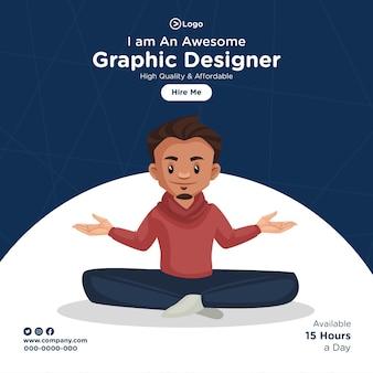 Projekt transparentu ilustracji stylu kreskówki projektanta graficznego