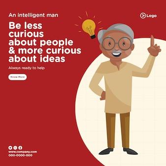 Projekt transparentu inteligentnego człowieka zawsze gotowego do pomocy w szablonie stylu kreskówki
